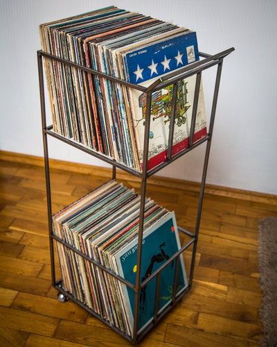 LP storage album crate // double deck // over 160 LP records // 4 rotating wheels - Design Atelier Article