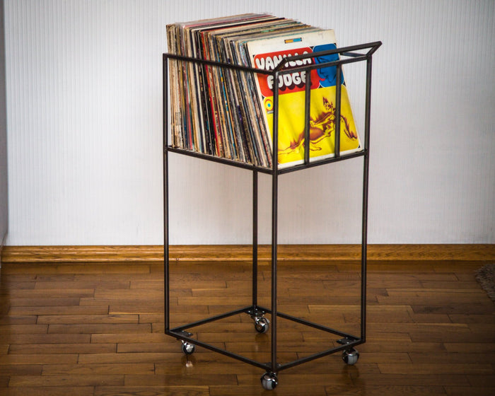LP storage crate // cart // 4 rotating wheels / over 80 LPs / free shipping - Design Atelier Article