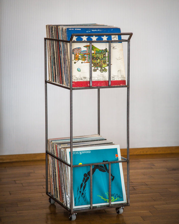 LP storage metal cart // double deck // over 160 LP records // 4 rotating wheels - Design Atelier Article