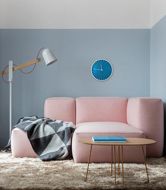 Blue Wall Clock Harmonica Modern, Geometric Style for a Minimalist but Colorful Home - Design Atelier Article