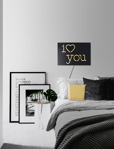 Neon Sign I love you // led technology  // Modern romantic decor // Wall Art // Universal current adapter // Free worldwide shipping - Design Atelier Article