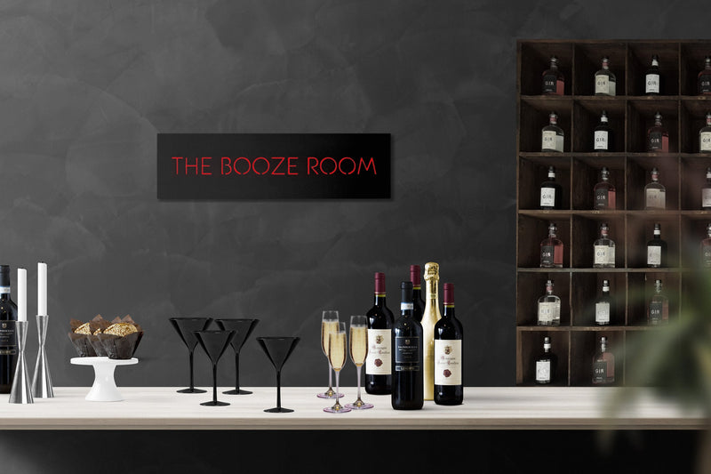 LED Sign // Wall Art // The Booze Room  Handmade from MDF Unique Wall LED light // Universal current adapter // Free worldwide shipping - Design Atelier Article