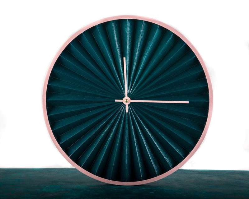 Wall Clock Harmonica Modern Green and Pink edition, Geometric Style for a Minimalist but Colorful Home