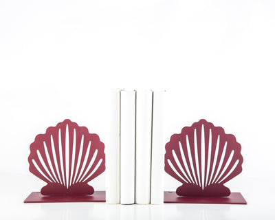 Metal Bookends Red Shell Functional Shelf Decor Organizer by Article