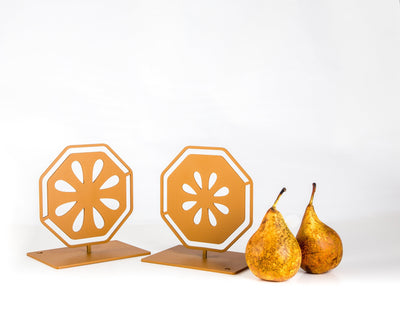 Metal Bookends Pear Cut // Functional Shelf Decor Organizer // FREE  SHIPPING - Design Atelier Article