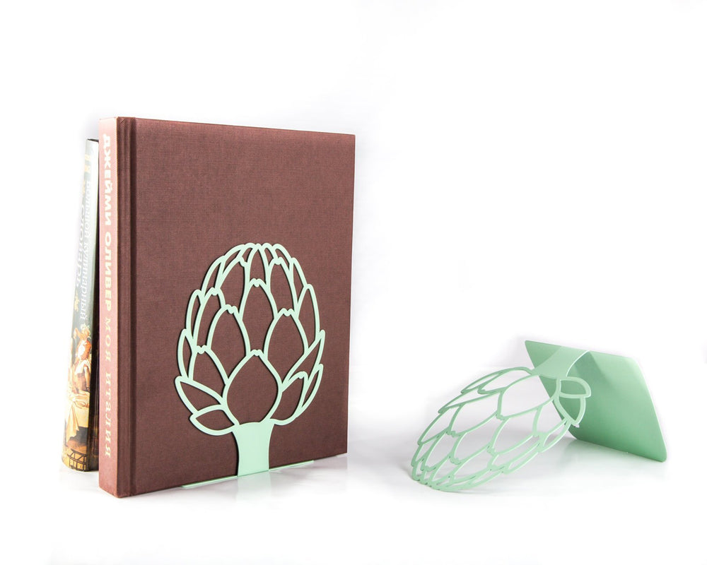 A pair of Metal Kitchen bookends // Artichoke // cookbook holders // FREE SHIPPING / housewarming gift