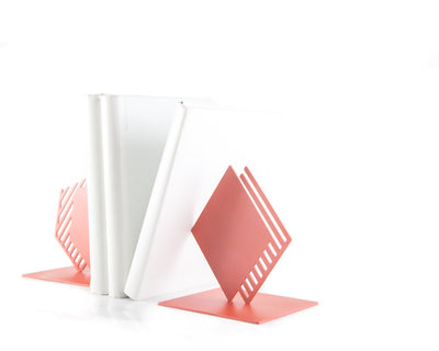 Metal Bookends Coral Geometry and Stipes by Article