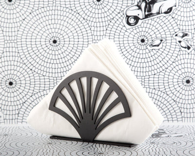 Unique napkin holder Fan // Velvety Black metal napkin dispenser // modern design kitchen accessory holder // FREE SHIPPING