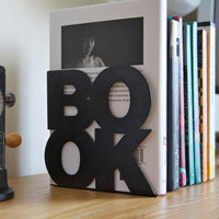 Modern stylish bookend // BookOne // Black FREE SHIPPING powder coated laser cut metal thick enough to hold books - Design Atelier Article