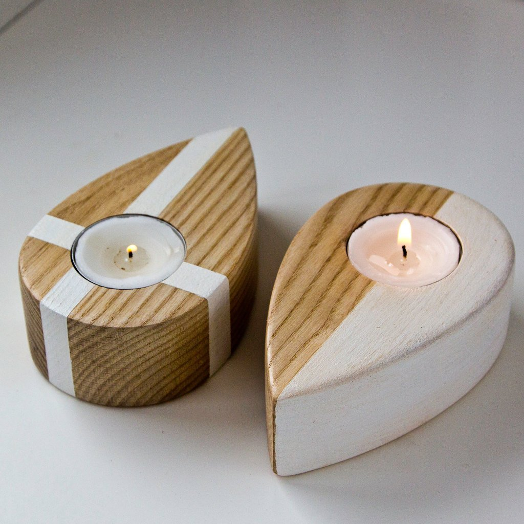 Candle holders - Drops from up North - salvaged ash tree hand painted and covered by organic glaze