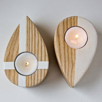 Candle holders - Drops from up North - salvaged ash tree hand painted and covered by organic glaze - Design Atelier Article