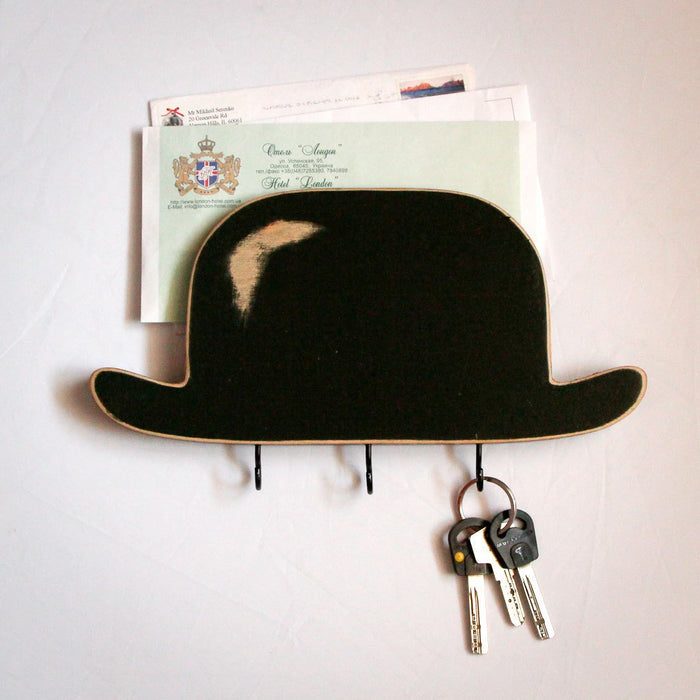 Bowler Hat Key Hook // Wooden Wall Organizer and Wall Shelf for Your Keys and Letters // Entry Way Shelf - Design Atelier Article