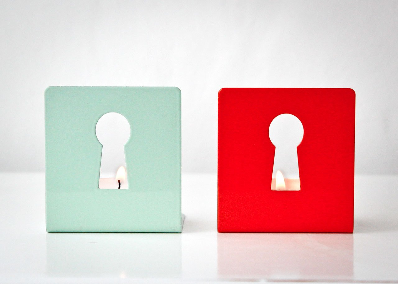 Two Metal Candle holders - Light out of the keyhole - // Modern home decor // Housewarming gift // Christmas gift // FREE SHIPPING