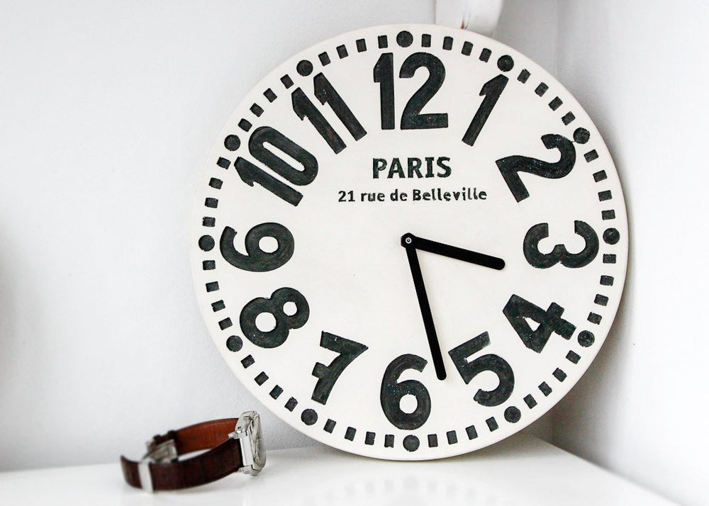 Wall clock -Paris- off white edition shabby chic cottage style birch wood vintage style // FREE SHIPPING