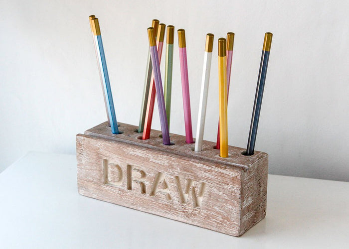 Pencil holder // Desk organizer for pencils, brushes and pens (wide). Simple and stylish shabby looking wooden item