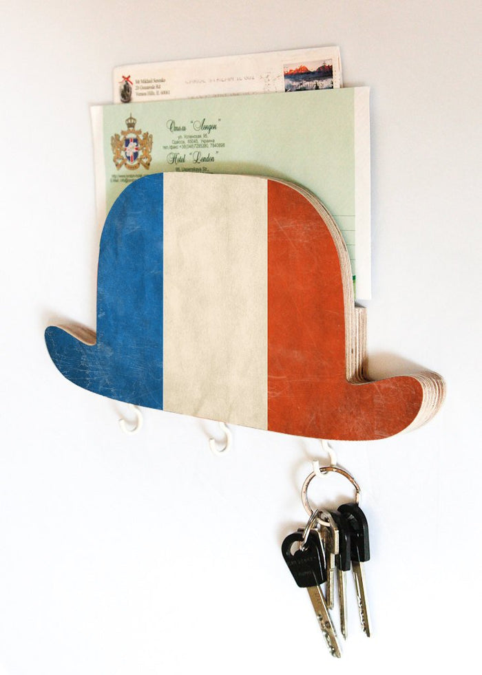 Key Hook - Wooden Wall Organizer - Wood Shelf - Bowler Hat France- for your keys, bills and letters - Design Atelier Article