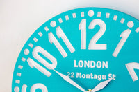 Large wooden faux vintage clock -London turquoise- // housewarming gift // graduation day gift // modern home decor // FREE SHIPPING - Design Atelier Article