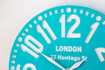 Large wooden handmade wall clock London turquoiseby Atelier Article - Design Atelier Article