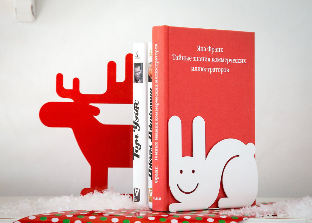 Salе 30% OFF Metal Bookend Hare // functional festive decor for your bookshelf // Christmas gift // housewarming gift // Free Shipping