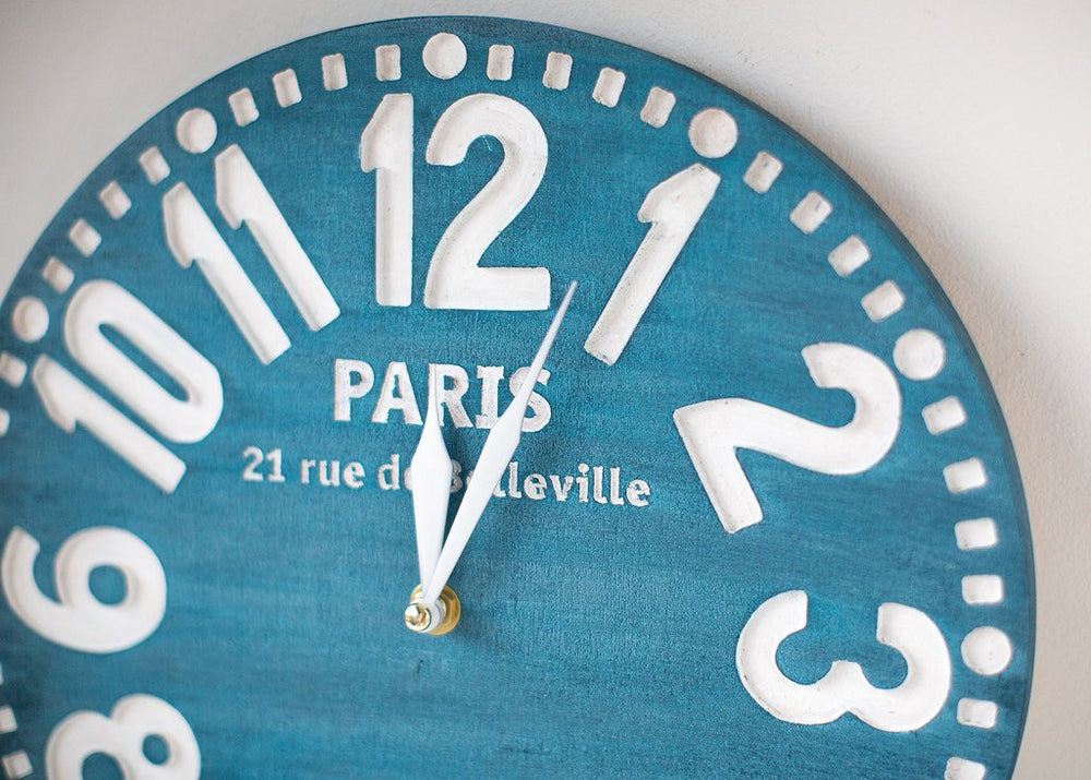 Handmade Wall clock Blue Faux Vintage by Atelier Article