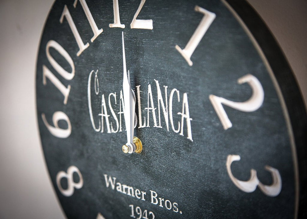 Wallclock -Casablanca- pseudo vintage birch clock hand painted