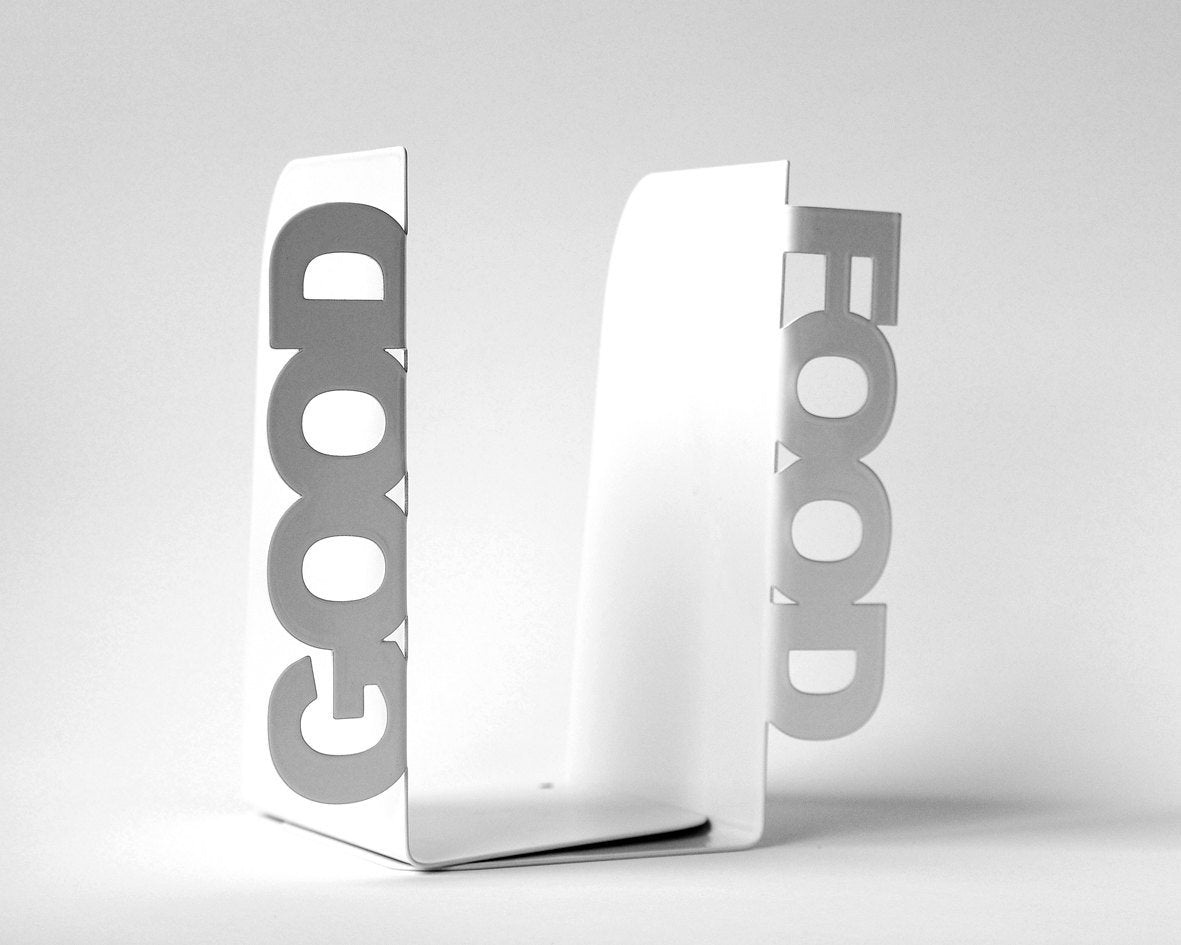 Metal kitchen bookends - Good food - functional decor for your kitchen // housewarming gift // Christmas present // FREE SHIPPING worldwide - Design Atelier Article