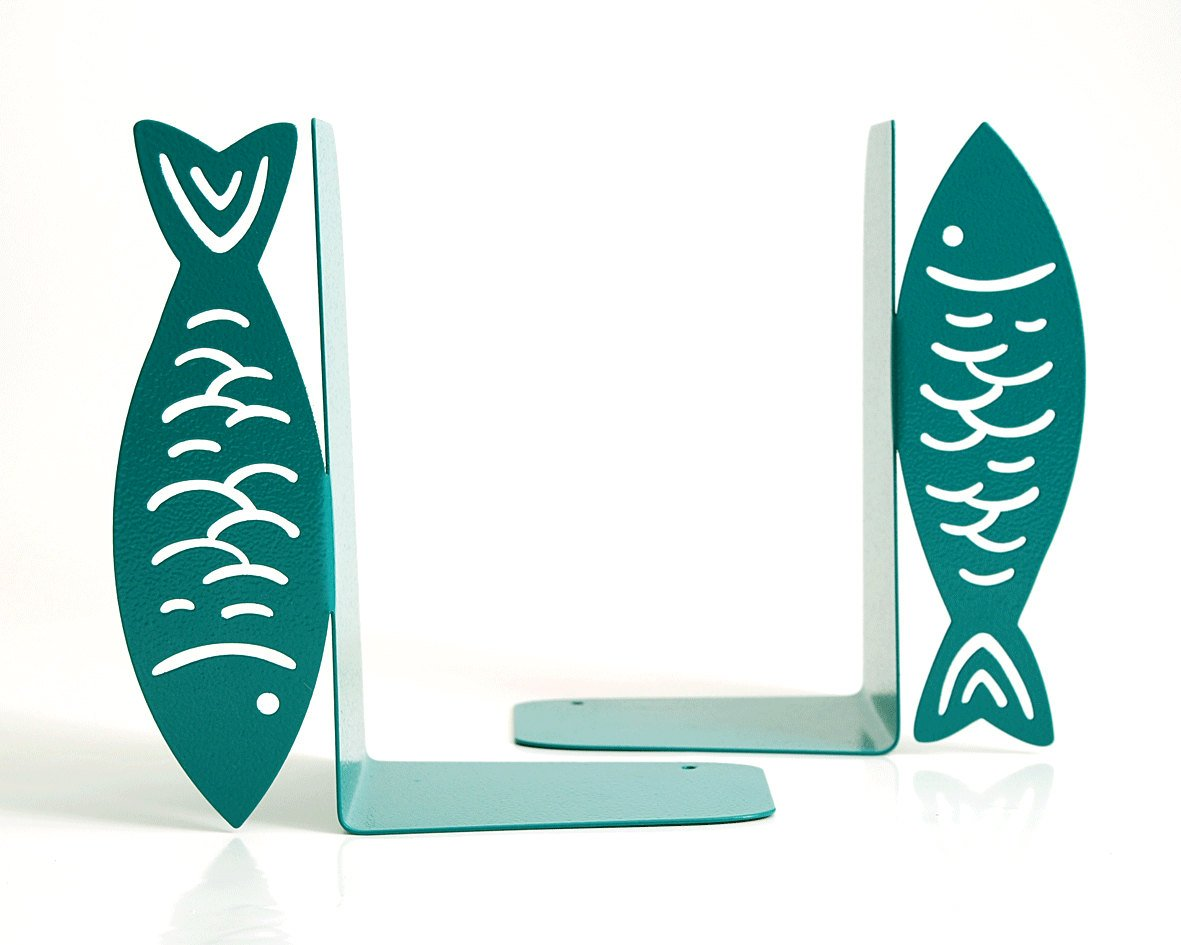 Unique metal kitchen Bookends -Fish- metal bookends for your cookbooks // housewarming // christmas present // modern kitchen decor