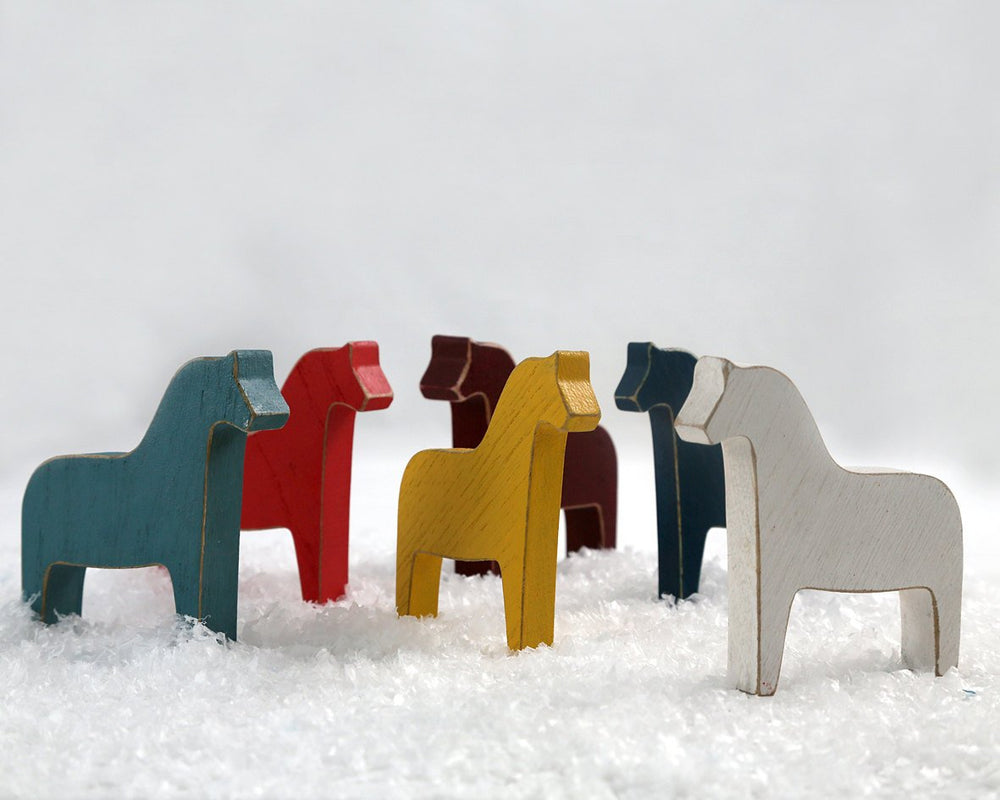 Scandinavian Dala horse Wooden toy decor for Christmas or just timeless scandi style decor, teal color // FREE SHIPPING