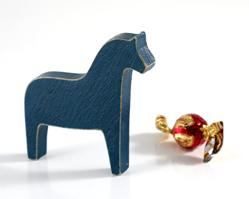 Scandinavian Dala horse wooden decor, navy // Primitive toy  // Housewarming gift // Christmas stocking stuffer // FREE SHIPPING