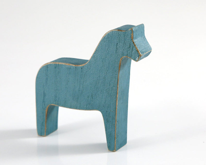 Scandinavian Dala horse wooden toy decor for Christmas rustic blue