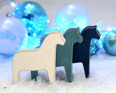 Scandinavian Dala horse wooden toy decor for Christmas rustic