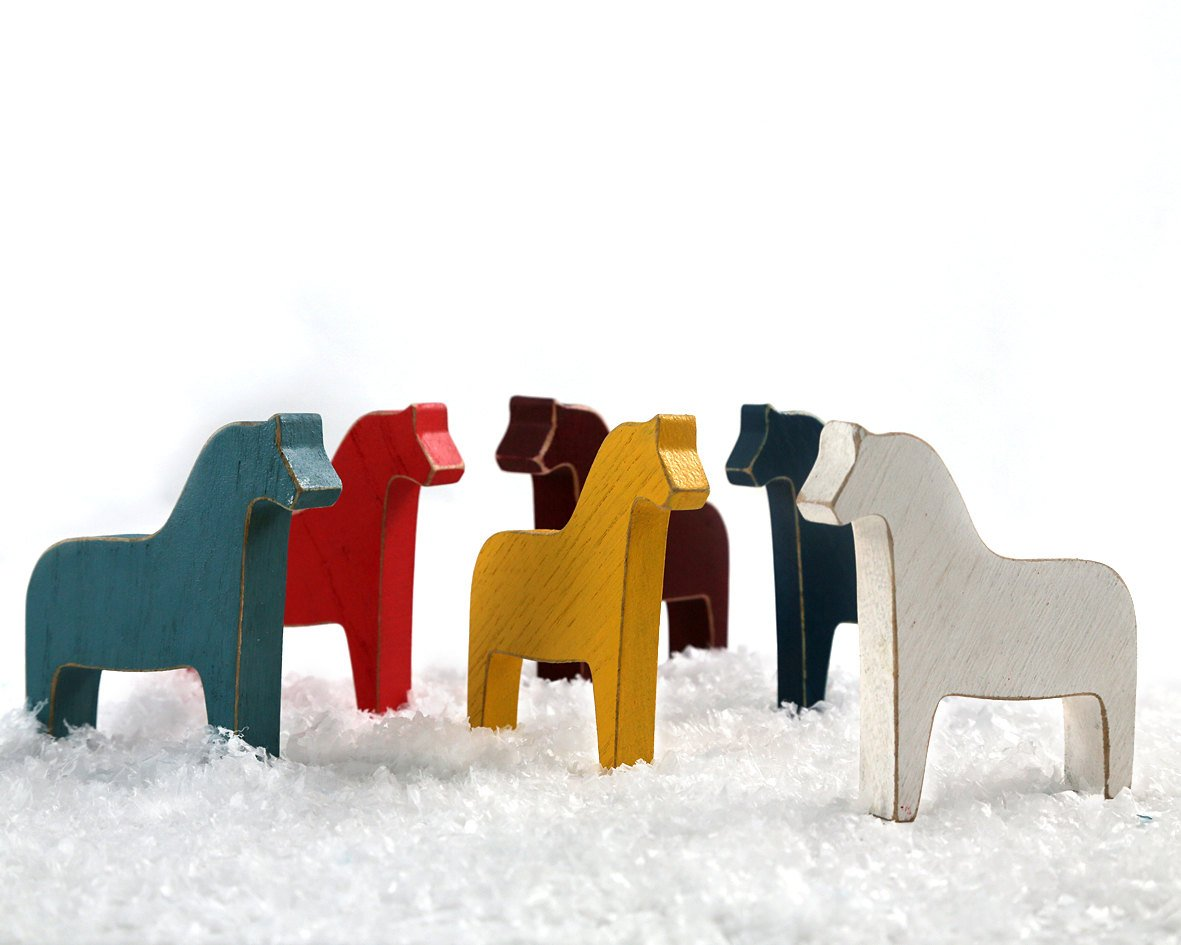 Colorful Set of Scandinavian Dala Horse Wooden Toys // Make a Special Addition to Your Holiday Decor // Free Shipping Worldwide - Design Atelier Article