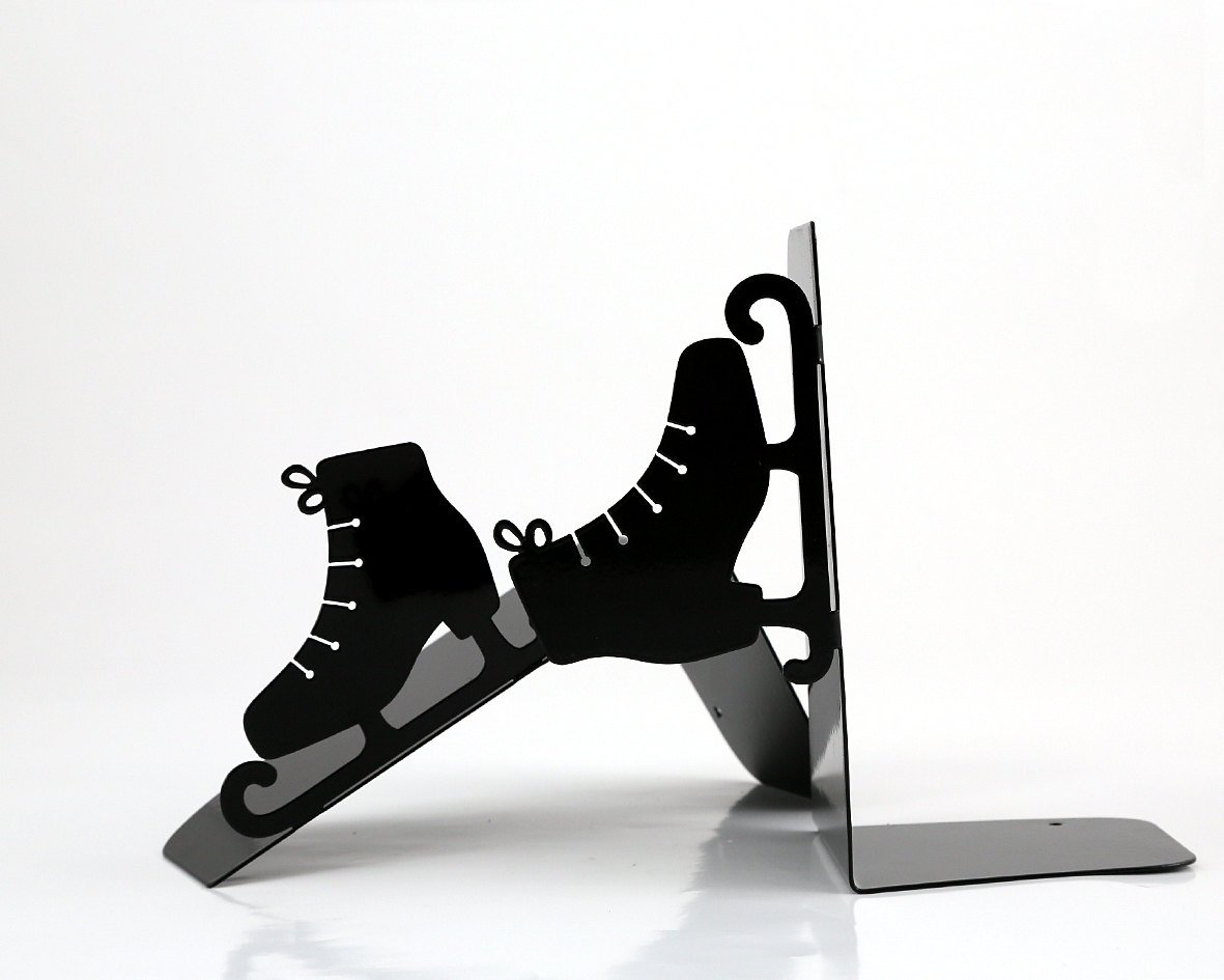 Bookends - Ice skates - FREE SHIPPING - SALE - for your favourite books, laser cut from metal strong enough to hold books - Design Atelier Article