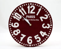Large handmade faux vintage clock -Paris burgundy- // housewarming gift // graduation day gift // wedding registry / FREE WORLDWIDE SHIPPING - Design Atelier Article