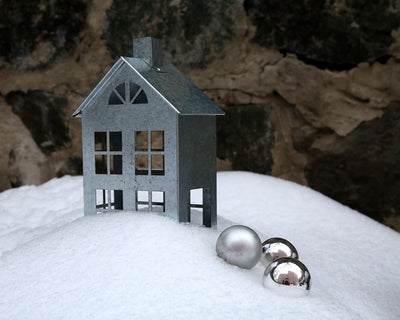 Tin house candle holder // Zinc Lantern // Christmas lighting