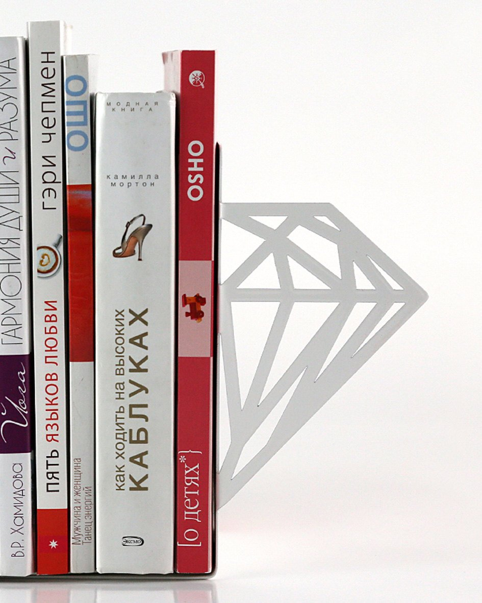 Unique bookends - Diamonds - // unique design // artistic decorative /book holders // functional bookshelf decor / geometry // FREE SHIPPING