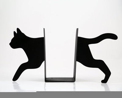 Metal Bookends - Running Cat - functional decor modern home // housewarming gift for cat book lover //  FREE SHIPPING - Design Atelier Article