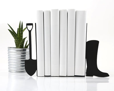 Sale 30% OFF Metal Bookends -Shovel and boot- functional bookshelf decor // housewarming present // FREE SHIPPING