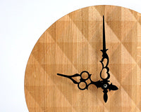 Gorgeous Geometric Solid Oak Wall Clock with a 3-D Surface Pattern // Modern Diamond Pattern Design for a New Home Owner - Design Atelier Article