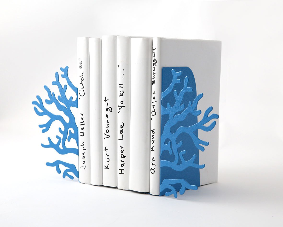 Metal Bookends -Corals Blue // beach house // nursery sea theme decor // FREE WORLDWIDE - Design Atelier Article