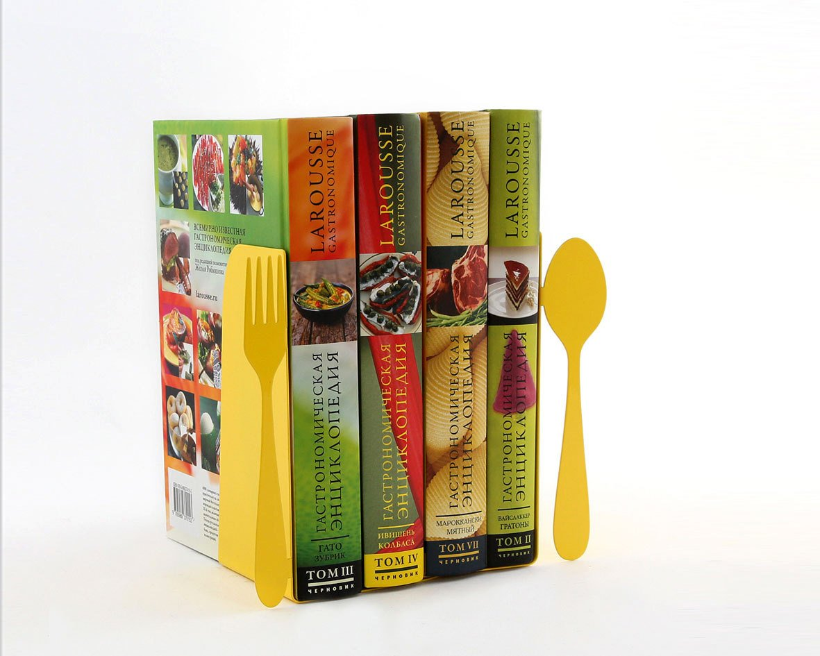 ... Unique Metal Kitchen Bookends Fork And Spoon // Decorative Book Holders  // Functional Kitchen ...