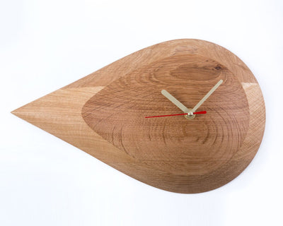 Retro Mod Drop Wall Clock Minimal and Modern Handmade from Natural Wood Clock // Perfect Housewarming Gift for a New Home Owner