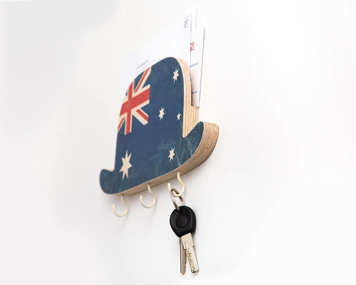 Key Hook - Wooden Wall Organizer - Bowler Hat Australia-  for your keys and bills