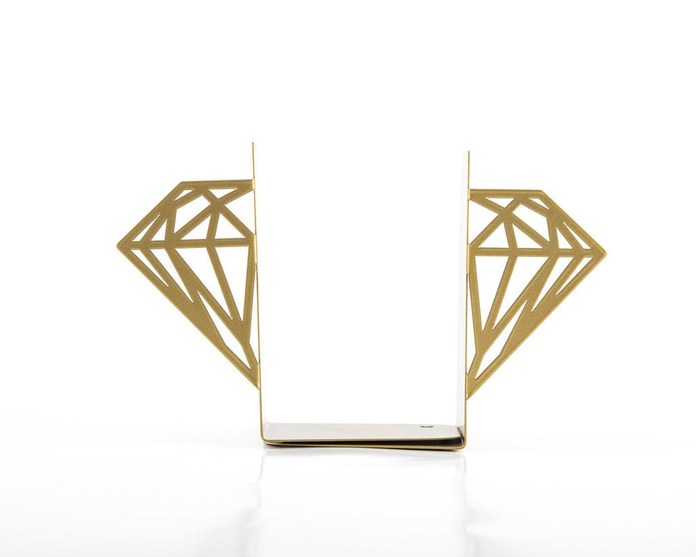 Metal bookends - Diamonds - (Golden edition) // geometry inspired design // FREE SHIPPING - Design Atelier Article