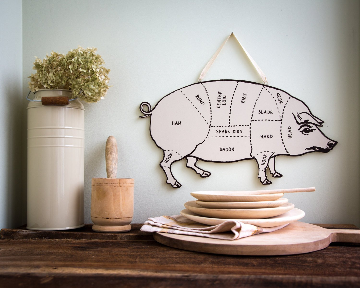 Decorative PIG  for your kitchen Meat cutting chart useful wall decoration // FREE SHIPPING - Design Atelier Article