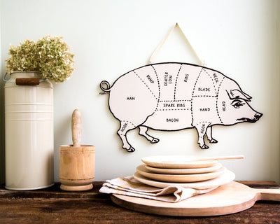 Wall decor PIG for your kitchen Meat cutting chart by Atelier Article
