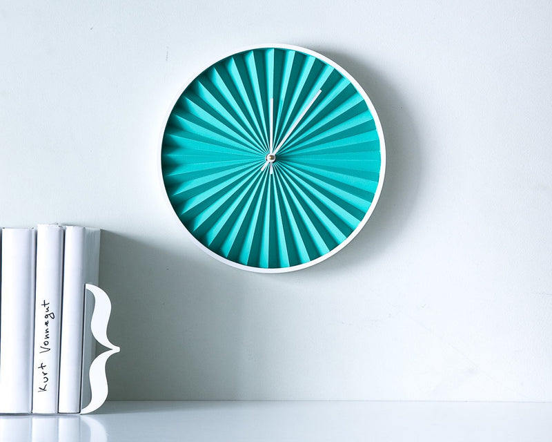 Turquoise Wall Clock Harmonica Modern, Geometric Style for a Minimalist but Colorful Home