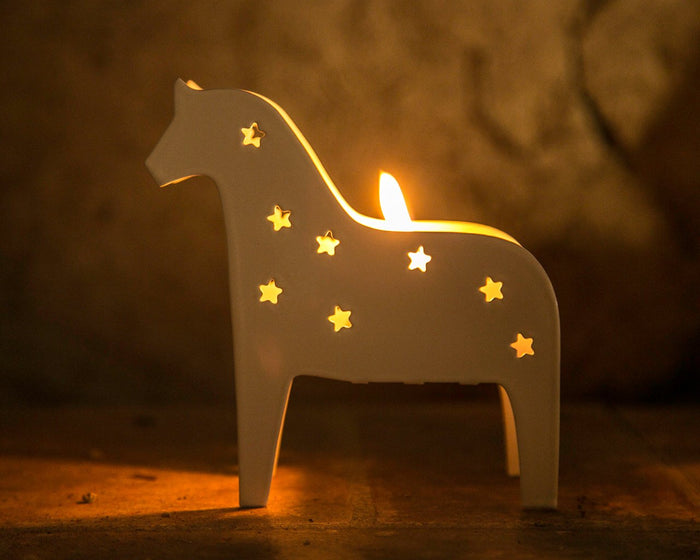 Candle holder // Metal Lantern // Scandinavian Dala horse // FREE SHIPPING - Design Atelier Article