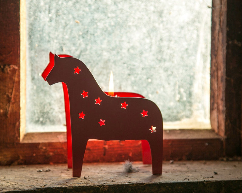 Candle holder Scandinavian Dala Horse Lantern