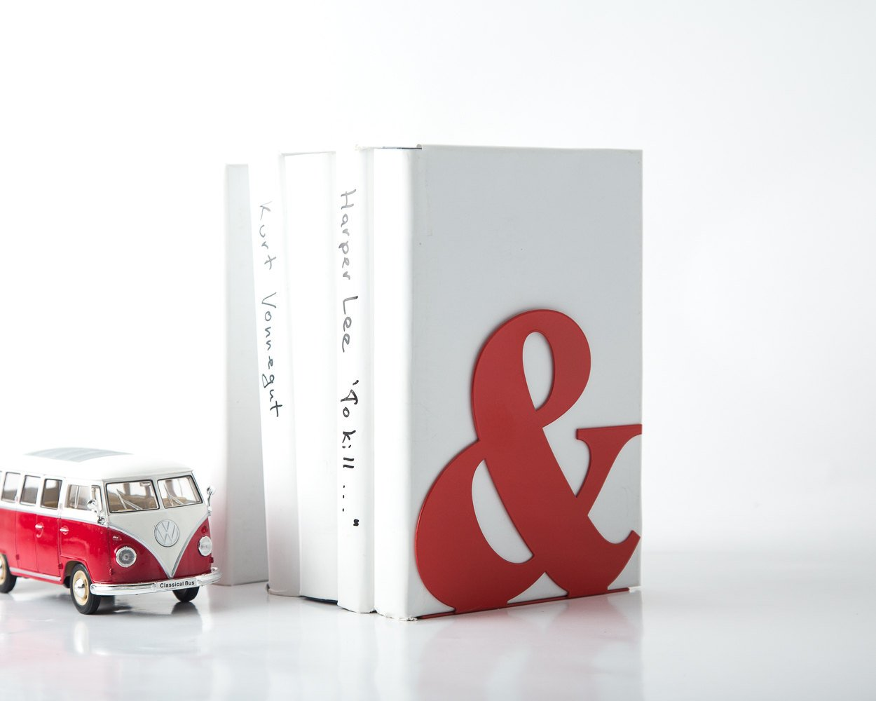 Metal Bookend -&- Ampersand - functional decor for modern home// red powder coated laser cut metal // housewarming present // FREE SHIPPING